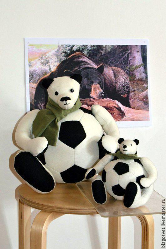 Игрушки животные, ручной работы. Ярмарка Мастеров - ручная работа. Купить Мяч-медведь. Handmade. Чёрно-белый, медведь, футбол