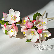 Украшения handmade. Livemaster - original item Hair stick with flowers Apple tree. Handmade.