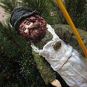 Куклы и игрушки ручной работы. Ярмарка Мастеров - ручная работа Старый Дворник - елочная игрушка из ваты. Handmade.