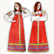 Русский стиль handmade. Livemaster - original item Satin dress for woman and girl Zaryana. Handmade.