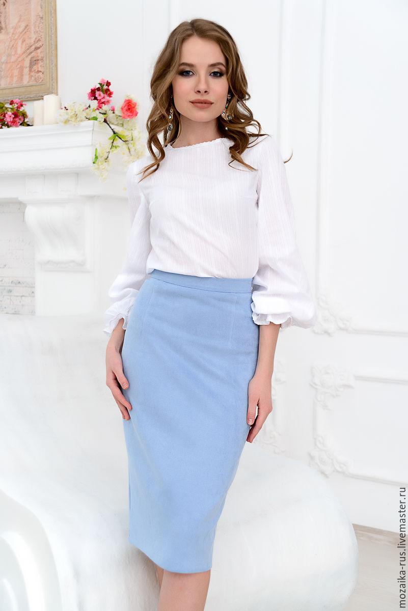 Небесно голубая юбка карандаш