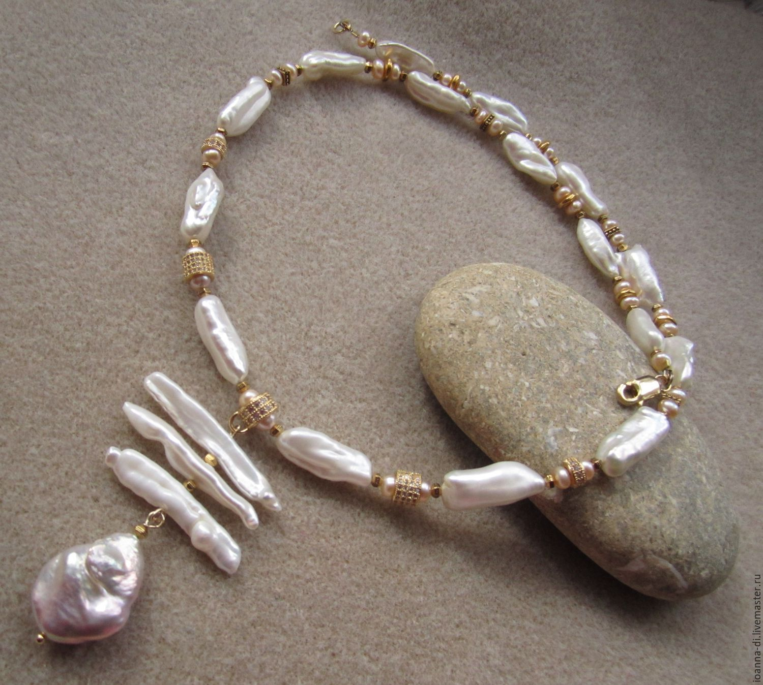 Necklace 'monmart' Biwa pearl, gold plated, Necklace, Moscow,  Фото №1