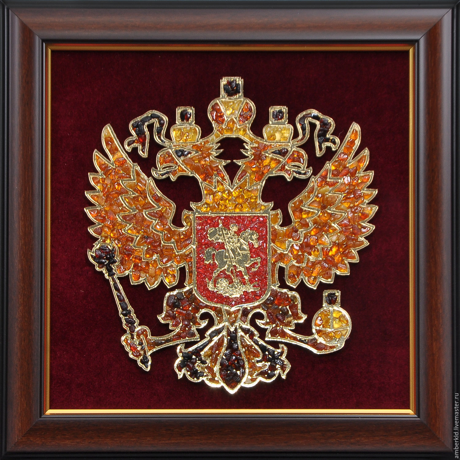 panels of amber the russian coat of arms inlaid in amber, beautiful and festive gift. the gift policies, gift military, gift officer, gift statesman.