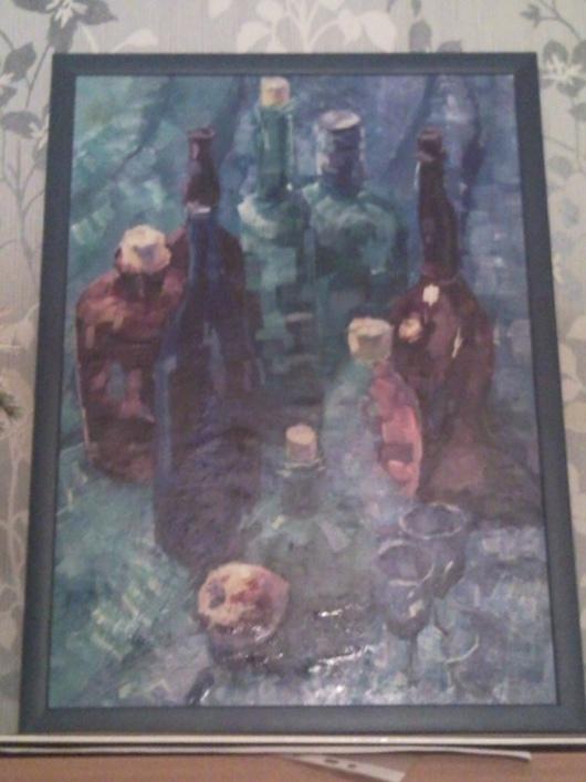 """Натюрморт ручной работы. Ярмарка Мастеров - ручная работа. Купить Картина """"7 бутылок"""". Handmade. Натюрморт, гуашь, деревянная рама"""