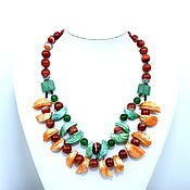 Украшения handmade. Livemaster - original item Bright necklace of carnelian, chrysoprase and tinted mother of pearl. Handmade.