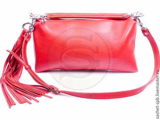 Женские сумки ручной работы. Ярмарка Мастеров - ручная работа. Купить Женская кожаная сумка Такса красная. Handmade.