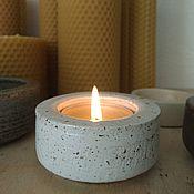 handmade. Livemaster - original item Candle holder clay 4cm color white granite. Handmade.