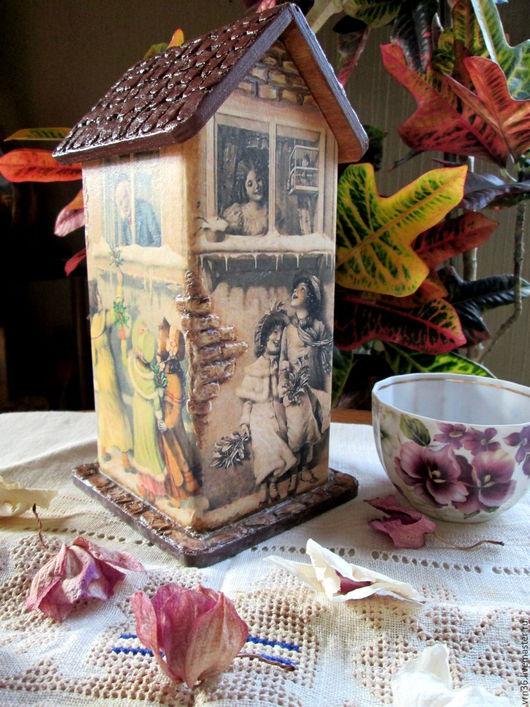 Кухня ручной работы. Ярмарка Мастеров - ручная работа. Купить Чайный домик Зимний винтаж. Handmade. Разноцветный, сувениры из дерева