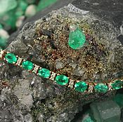 Bead bracelet handmade. Livemaster - original item 8.70 Ct Natural Emerald Natural Diamond tennis Bracelet 14K Yellow Gol. Handmade.