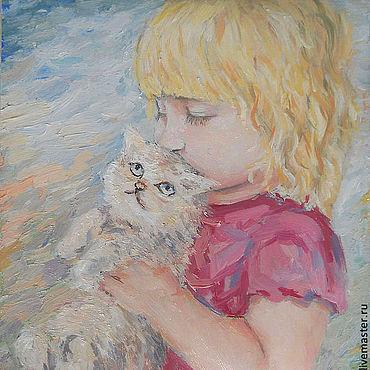 Картины и панно ручной работы. Ярмарка Мастеров - ручная работа Картина счастье. Девочка и котёнок.. Handmade.