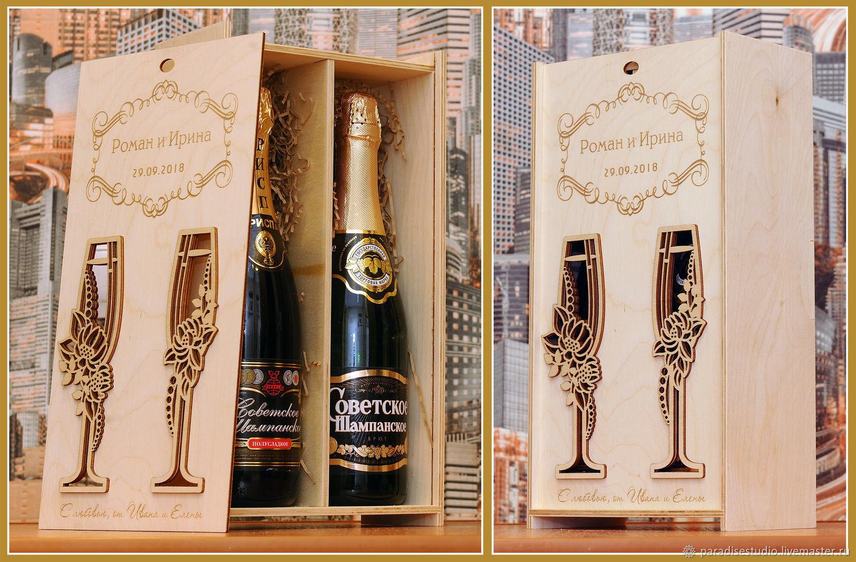 Box for champagne, Gift wrap, Kotlas,  Фото №1