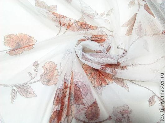 Шитье ручной работы. Ярмарка Мастеров - ручная работа. Купить Сетка с цветами для штор. Красивый тюль. Handmade. Рыжий