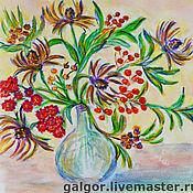 Картины и панно ручной работы. Ярмарка Мастеров - ручная работа Осенние цветы в вазе. Handmade.