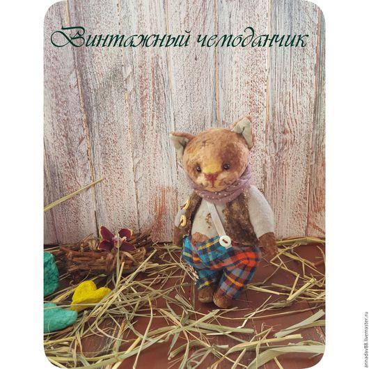 Мишки Тедди ручной работы. Ярмарка Мастеров - ручная работа. Купить Маленький котенок. Handmade. Коричневый, подарок, винтаж, штанишки
