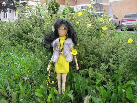 Куклы тыквоголовки ручной работы. Ярмарка Мастеров - ручная работа. Купить Городская девочка. Handmade. Лимонный, кукла в подарок, подарок
