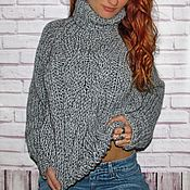 Одежда handmade. Livemaster - original item Womens sweater are knit by hand, chunky knit, melange blue color. Handmade.