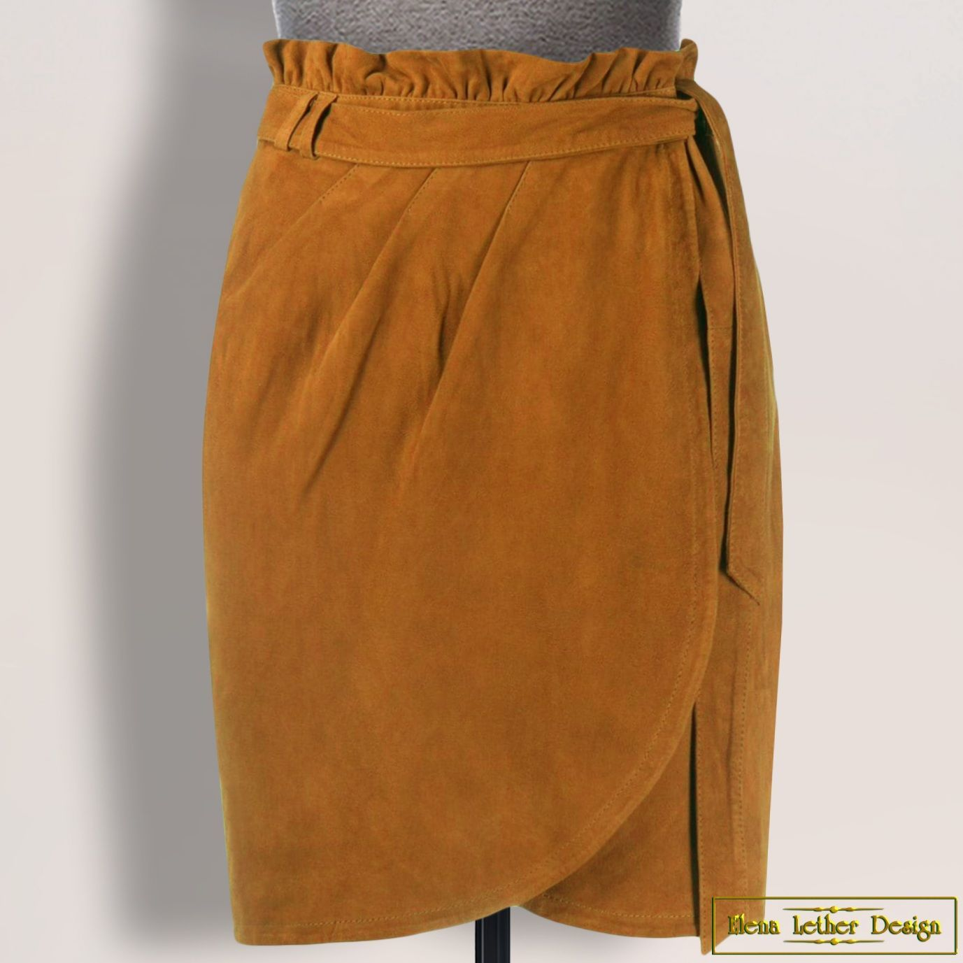 Pencil skirt 'Ramina' from natural. suede/leather (any color), Skirts, Rodniki,  Фото №1