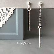 Украшения handmade. Livemaster - original item Asymmetric stud earrings on long chains. Handmade.