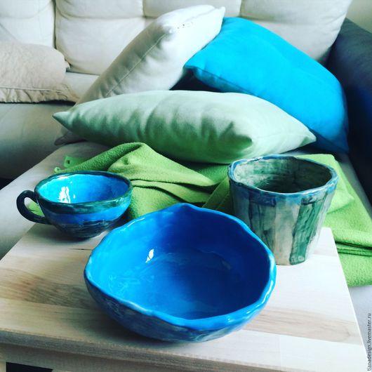 """Кружки и чашки ручной работы. Ярмарка Мастеров - ручная работа. Купить Подарочный набор керамики ручной работы """"Голубая лагуна"""". Handmade."""