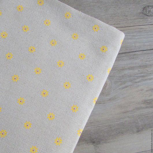 Ткань лен натуральный. Рисунок Ромашка желтая.