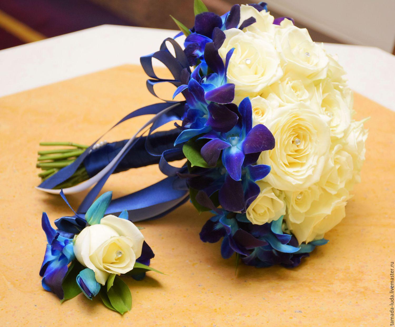 Магазин, редкий букет невесты фото синий