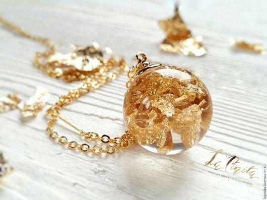 Кулоны, подвески ручной работы. Ярмарка Мастеров - ручная работа. Купить Кулон позолоченный с золотой поталью Liquid Gold. Handmade.