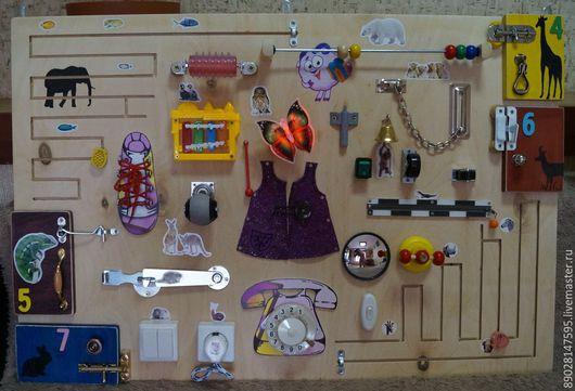 Развивающие игрушки ручной работы. Ярмарка Мастеров - ручная работа. Купить БИЗИБОРД РАЗВИВАЮЩАЯ ДОСКА. Handmade. Разноцветный, развивающие игрушки
