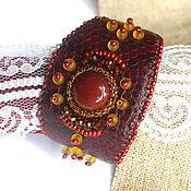 Украшения handmade. Livemaster - original item Bracelet of leather and beads Autumn motives.. Handmade.