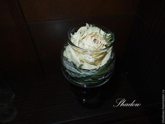 Интерьерные композиции ручной работы. Ярмарка Мастеров - ручная работа. Купить Роза в бокале. Handmade. Роза, сизаль, интерьерная композиция
