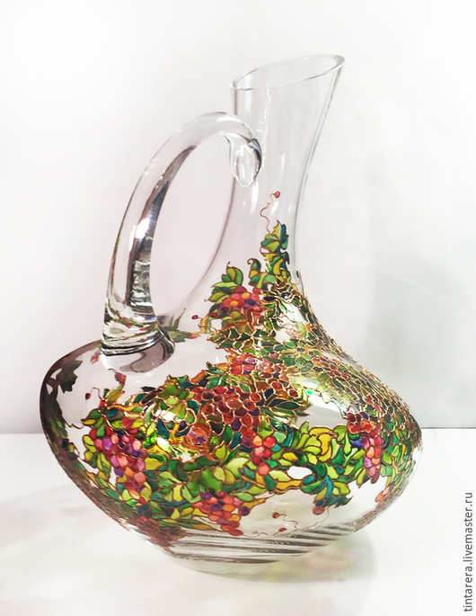 """Графины, кувшины ручной работы. Ярмарка Мастеров - ручная работа. Купить декантер  """"Виноградная лоза"""". Handmade. Разноцветный, стекло"""