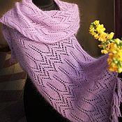 Аксессуары handmade. Livemaster - original item Openwork scarf stole Red Violet (mink down and silk). Handmade.