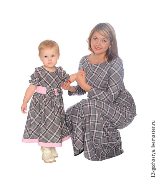 Платья ручной работы. Ярмарка Мастеров - ручная работа. Купить Платья для мамы и дочки в клетку, комплект. Handmade. Серый