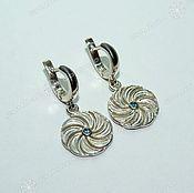 Русский стиль handmade. Livemaster - original item Solstice earrings (with stone). Handmade.