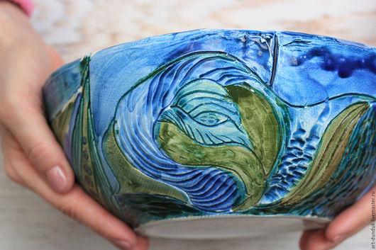 """Салатники ручной работы. Ярмарка Мастеров - ручная работа. Купить """"Голубая планета"""" керамический салатник. Handmade. Синий, голубой, посуда"""