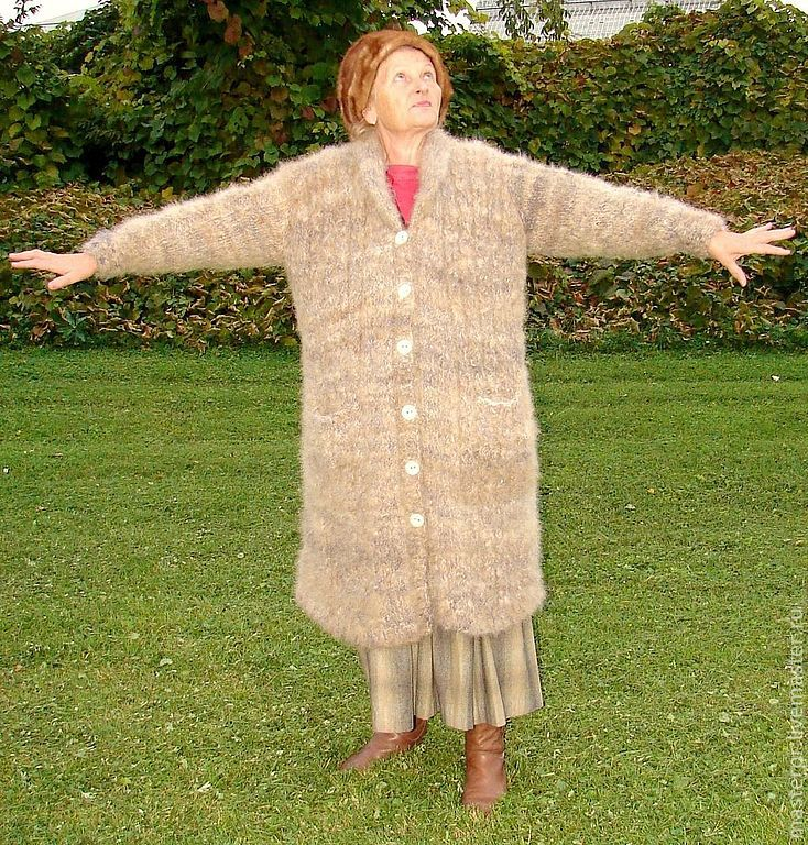 coat knitted from yarn
