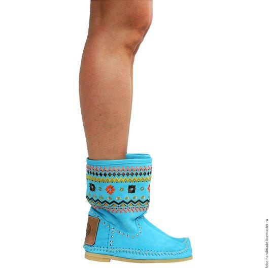 Обувь ручной работы. Ярмарка Мастеров - ручная работа. Купить Замшевые полусапожки ЭТНО /бирюзовые/. Handmade. Бирюзовый, полусапожки
