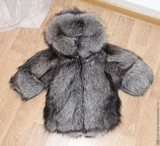 детская шуба из скандинавской чернобурки, цельные шкуры,на молнии,длина 40 см