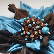 Украшения ручной работы. Ярмарка Мастеров - ручная работа Брошь цветок Бирюза в шоколаде. Handmade.