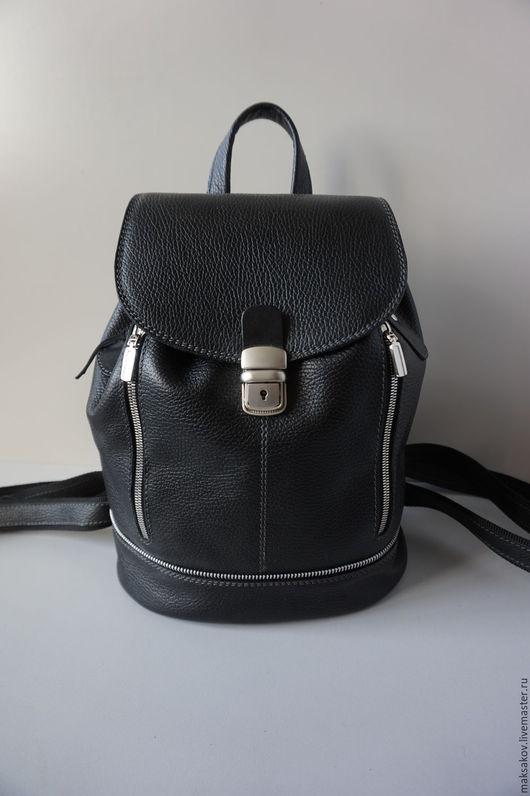 Рюкзаки ручной работы. Ярмарка Мастеров - ручная работа. Купить Рюкзак из чёрной кожи. Handmade. Черный, натуральная кожа