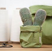 Для дома и интерьера ручной работы. Ярмарка Мастеров - ручная работа Оливковые экомешки из текстильного крафта, три размера. Handmade.