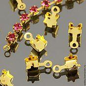 Материалы для творчества ручной работы. Ярмарка Мастеров - ручная работа Концевики для цепочек из страз 4х4 мм По 10 шт Золот. Handmade.