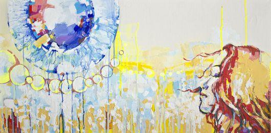 Абстракция ручной работы. Ярмарка Мастеров - ручная работа. Купить Слезы счастья. Handmade. Желтый, Рыжая, радость, голубой, белый