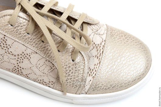 Обувь ручной работы. Ярмарка Мастеров - ручная работа. Купить -30%! Полукеды Lace. Handmade. Белый, кожаные кеды