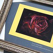 Картины и панно ручной работы. Ярмарка Мастеров - ручная работа Пастель картина Черный бархат. Картины розы. Картина пастелью. Handmade.