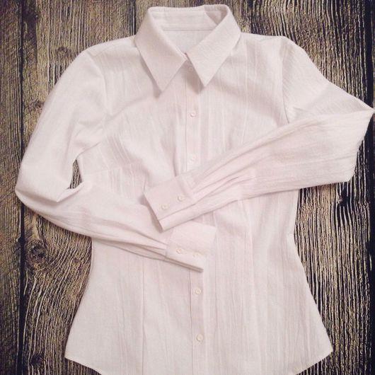 Блузки ручной работы. Ярмарка Мастеров - ручная работа. Купить Рубашка из льна Снег. Handmade. Рубашка на заказ, блузка женская