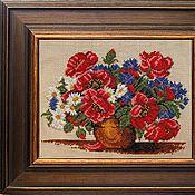 Картины и панно ручной работы. Ярмарка Мастеров - ручная работа Букет полевых цветов, вышитая картина. Handmade.
