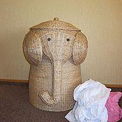 Для дома и интерьера ручной работы. Ярмарка Мастеров - ручная работа плетеная корзина для белья Слон. Handmade.