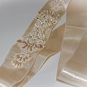 Свадебный салон handmade. Livemaster - original item The belt for the dress. Beige and gold. Handmade.