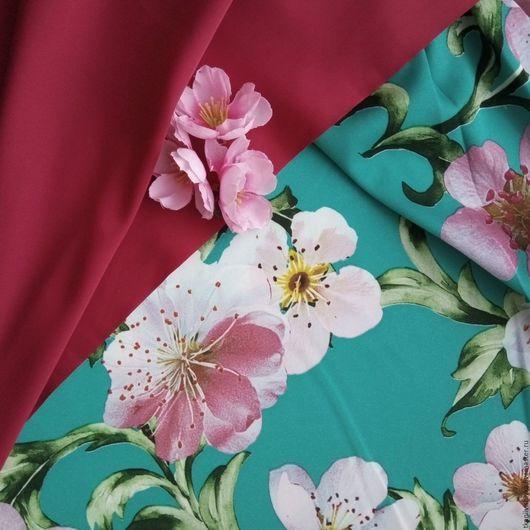 """Шитье ручной работы. Ярмарка Мастеров - ручная работа. Купить Плательный шёлк  """"Бирюза с розовыми цветами"""". Handmade. Бирюзовый"""