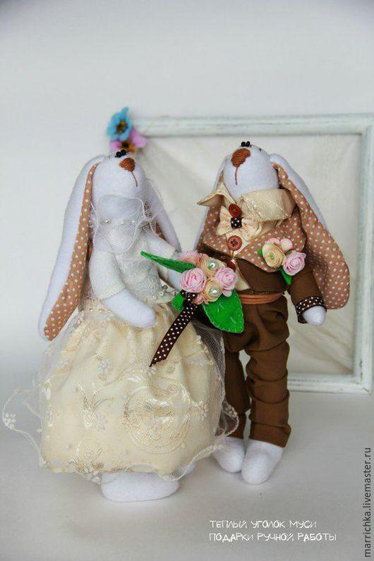 Свадебные аксессуары ручной работы. Ярмарка Мастеров - ручная работа. Купить Свадебные куклы - зайцы. Handmade. Кремовый, подарок на свадьбу